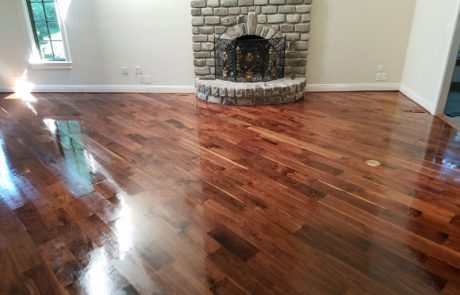 Hardwood flooring refinish with dark stain
