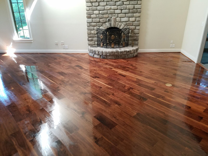Hardwood flooring refinish with dark stain